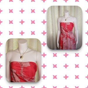 Strapless coral dress by The Limited